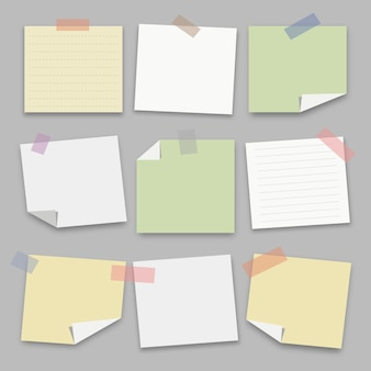 Colección de papel de nota. ilustración de vector.