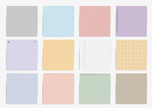 Colección de papel de notas de colores