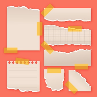 Colección de papel rasgado en diferentes formas.