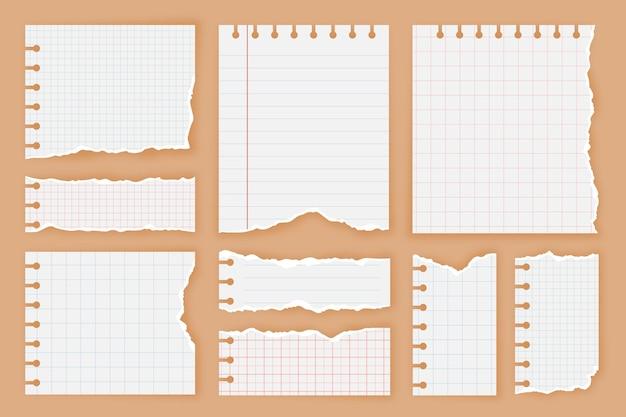 Colección de papel rasgado estilo realista