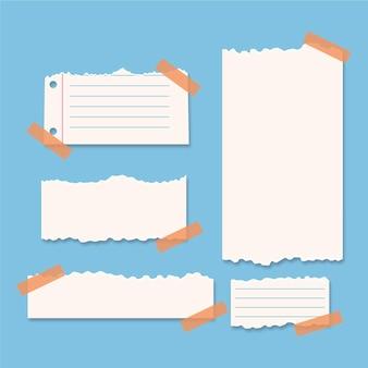 Colección de papel rasgado con paquete de cinta