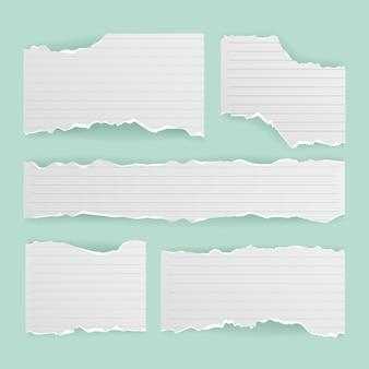 Colección de papel rasgado realista
