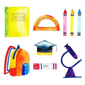 Colección de papelería de acuarela de regreso a la escuela