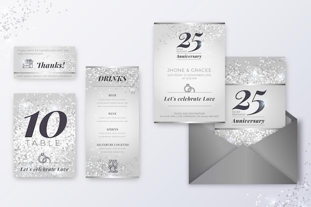 Colección de papelería aniversario 25 años