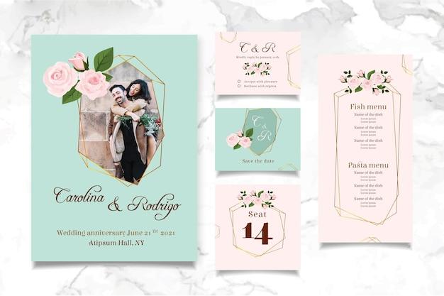 Colección de papelería de aniversario de boda