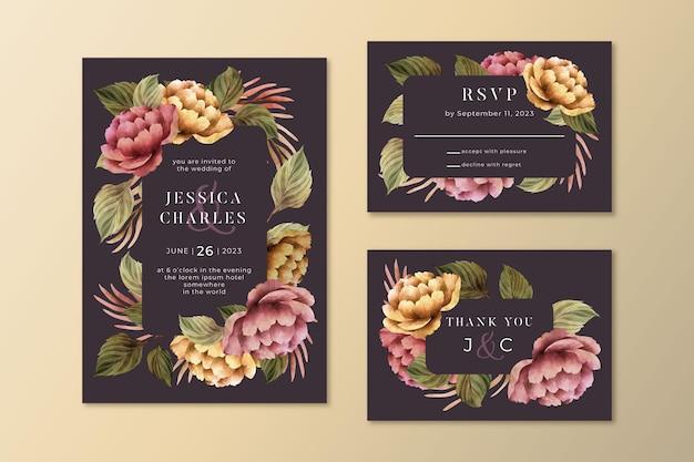 Colección de papelería de boda botánica dramática en acuarela