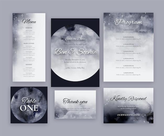 Colección de papelería de boda celestial en acuarela