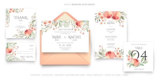 Colección de papelería para bodas en melocotón y colores verdes.
