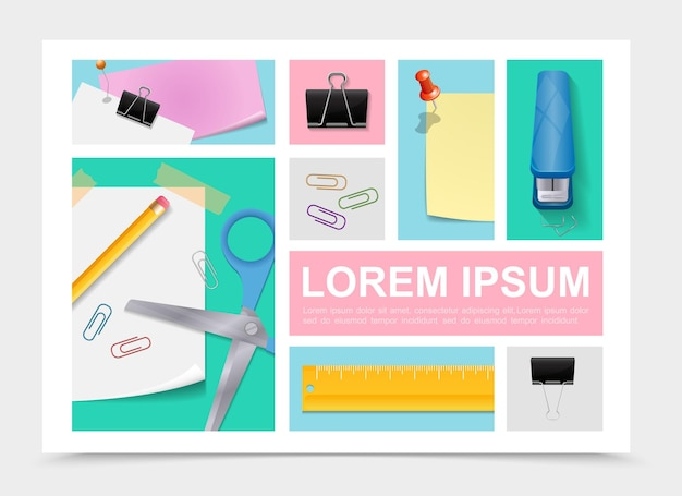 Colección de papelería colorida con tijeras, lápiz, hojas de papel, pegatinas, grapadora, regla, clips de carpeta, chinchetas en ilustración de estilo realista,