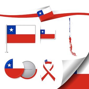 Colección de papelería con diseño de la bandera de chile