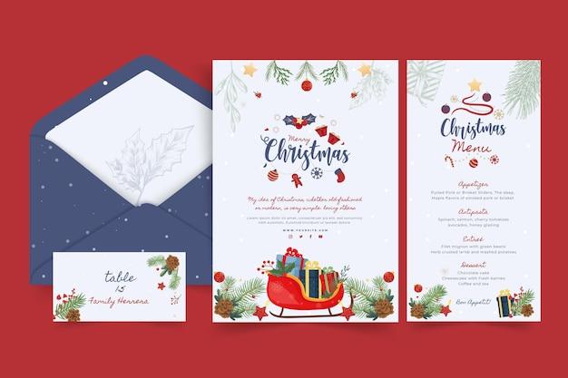 Colección de papelería feliz navidad y felices fiestas