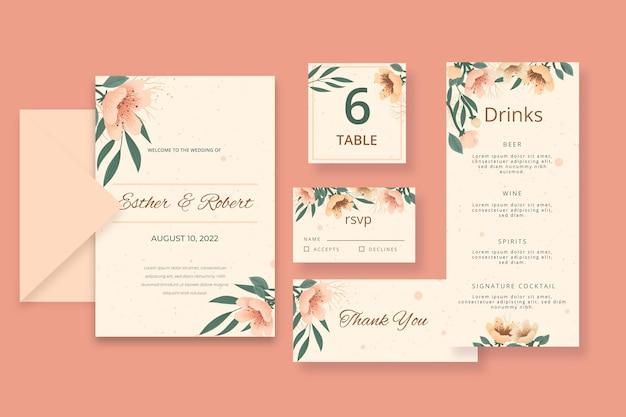 Colección de papelería floral para bodas
