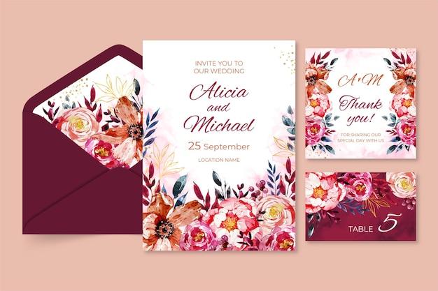 Colección de papelería floral para bodas.