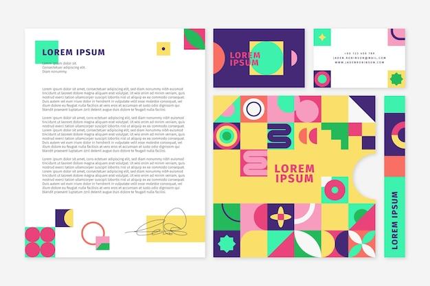 Colección de papelería de la marca mosaico plano