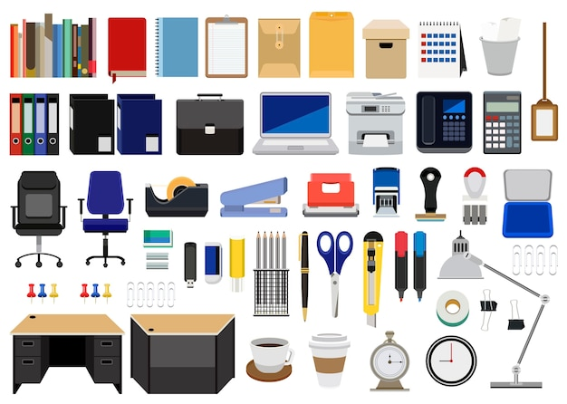 Colección de papelería de oficina