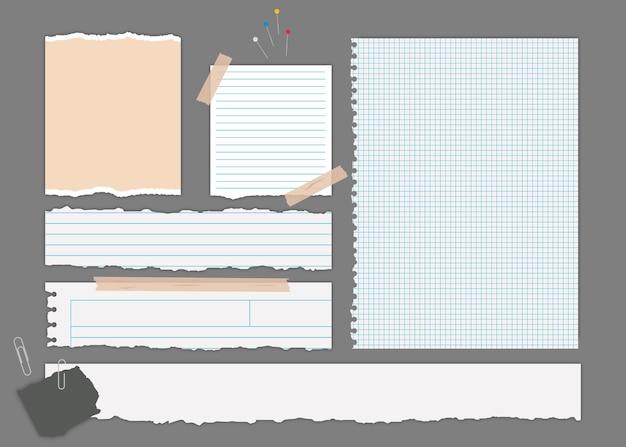 Colección de papeles rotos con elementos de papelería.