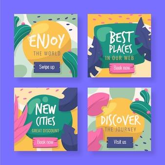 Colección de paquete de instagram de viaje plano