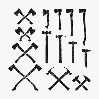 Colección de paquete de vector de martillo rústico y hacha