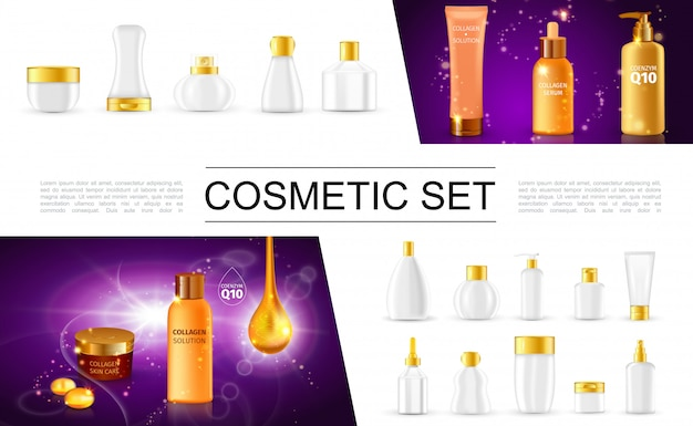 Colección de paquetes cosméticos realistas con botellas y recipientes para crema corporal, loción hidratante, champú, spray, jabón