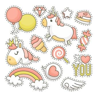 Colección de parches de unicornio con ilustración dibujada a mano