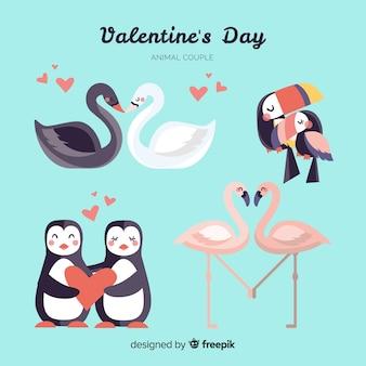 Colección de parejas adorables de animales de san valentín