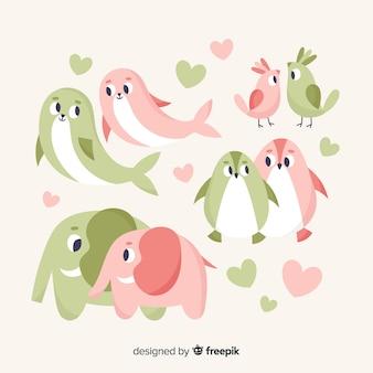Colección parejas de animales adorables san valentín
