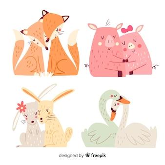 Colección parejas animales día de san valentín