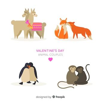Colección parejas de animales día de san valentín