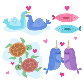 Colección de parejas de animales del día de san valentín