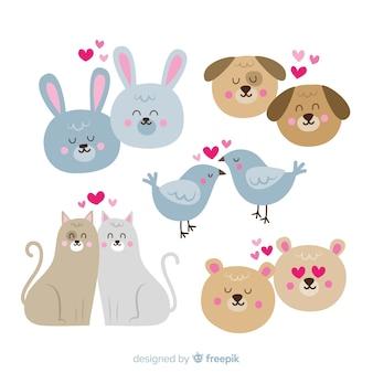 Colección parejas de animales dibujadas a mano san valentín
