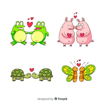 Colección parejas de animales dibujos animados san valentín