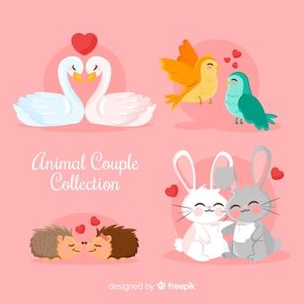 Colección parejas de animales monos san valentín