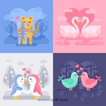 Colección parejas de animales planos san valentín