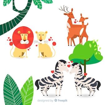 Colección parejas animales salvajes san valentín
