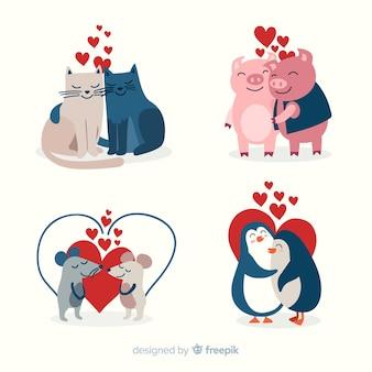 Colección parejas animales san valentín