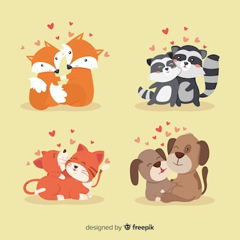 Colección parejas de animales san valentín
