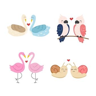 Colección de parejas de animales de san valentín