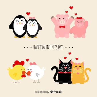 Colección parejas de animales sonrientes san valentín