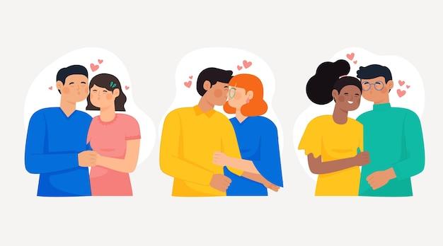 Colección parejas besándose dibujadas a mano