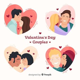 Colección parejas besándose san valentín