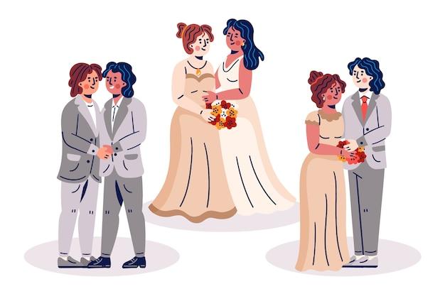 Colección de parejas de boda dibujadas a mano