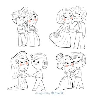Colección de parejas de boda dibujados a mano