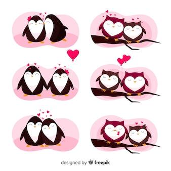 Colección parejas de búhos y pingüinos san valentín