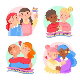 Colección de parejas del día del orgullo dibujadas a mano