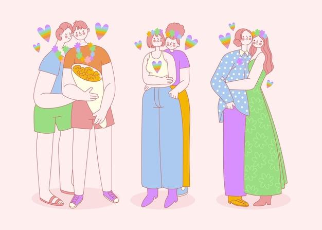 Colección de parejas del día del orgullo plano orgánico