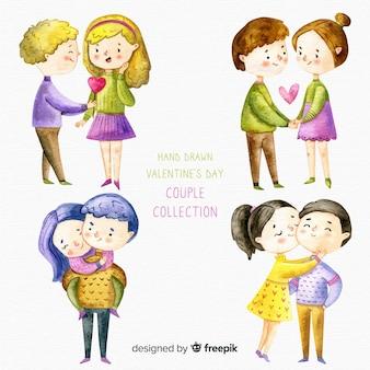 Colección parejas día de san valentín dibujadas a mano