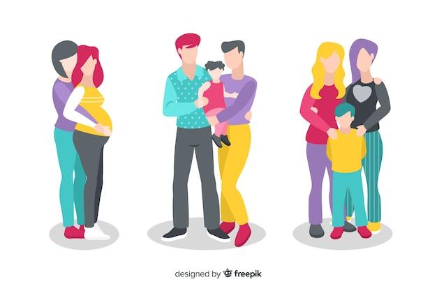 Colección parejas y familias día del orgullo