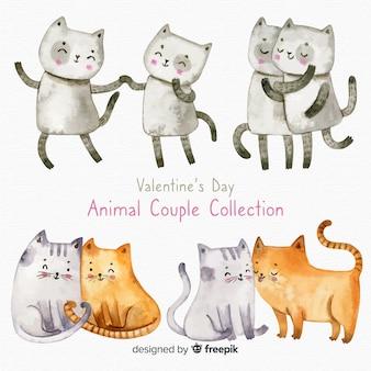Colección parejas de gatos día de san valentín