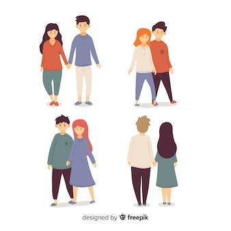 Colección de parejas jóvenes caminando