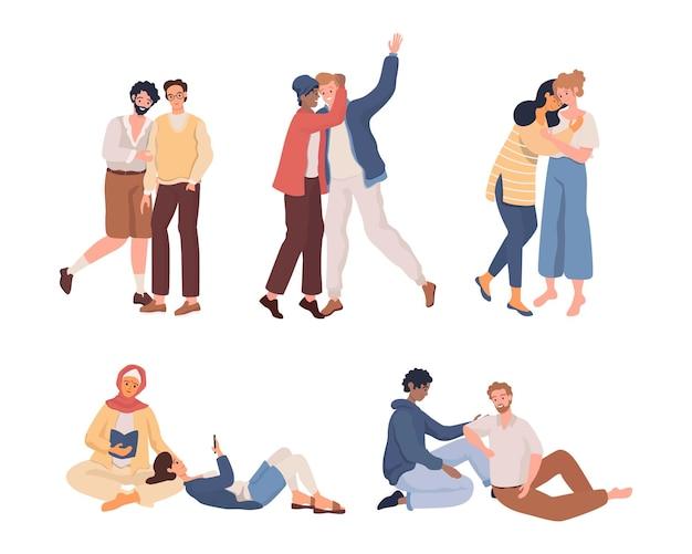 Colección de parejas lgbt parejas transgénero masculinas y femeninas homosexuales